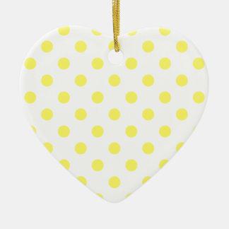 Lunares grandes - amarillo limón en blanco ornamentos de navidad