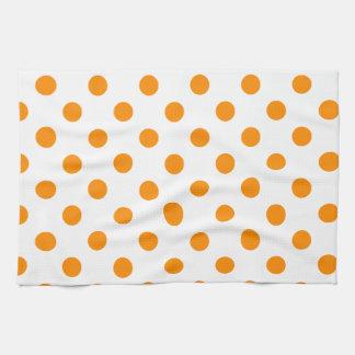 Lunares grandes - anaranjado oscuro en blanco toallas