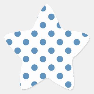 Lunares grandes - azul de acero en blanco pegatina en forma de estrella