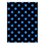 Lunares grandes - azul de Dodger en negro Postal