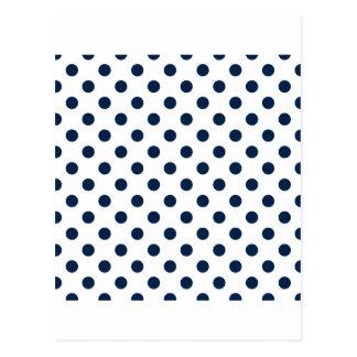 Lunares grandes - azul de Oxford en blanco Postales