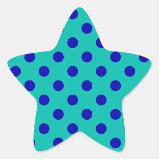 Lunares grandes - azul en verde pegatina en forma de estrella