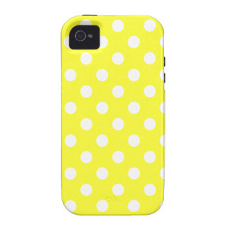 Lunares grandes - blanco en amarillo eléctrico iPhone 4/4S funda