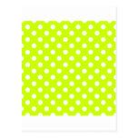 Lunares grandes - blanco en amarillo fluorescente postal