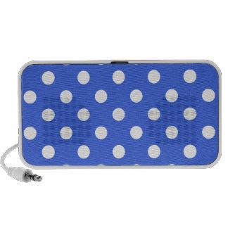 Lunares grandes - blanco en azul real iPod altavoces