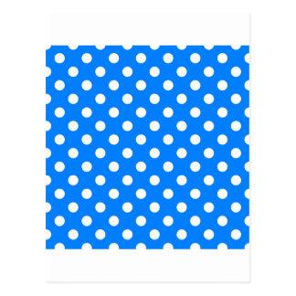 Lunares grandes - blanco en azul tarjetas postales