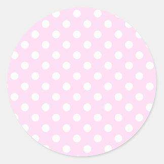 Lunares grandes - blanco en cordón rosado pegatina redonda