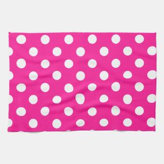 Lunares grandes - blanco en de color rosa oscuro toalla de cocina
