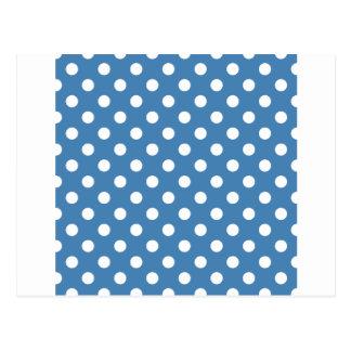 Lunares grandes - blanco en el azul de acero postal