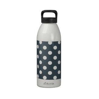 Lunares grandes - blanco en el carbón de leña botella de agua reutilizable