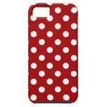 Lunares grandes - blanco en el rojo oscuro de Appl iPhone 5 Case-Mate Coberturas