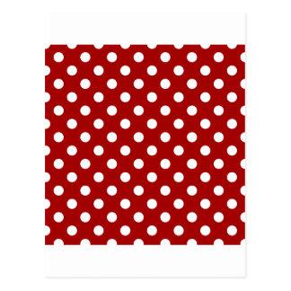 Lunares grandes - blanco en el rojo oscuro de postal