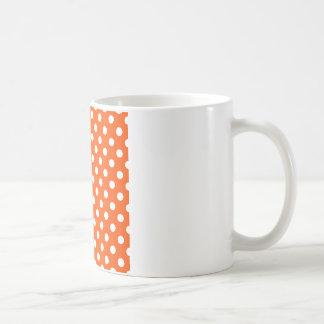 Lunares grandes - blanco en el Tangelo Tazas De Café