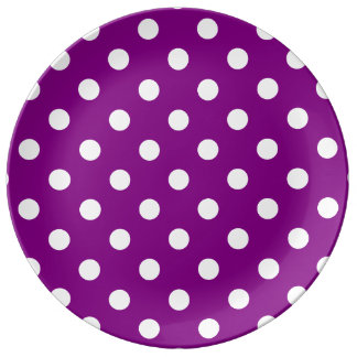 Lunares grandes - blanco en púrpura platos de cerámica