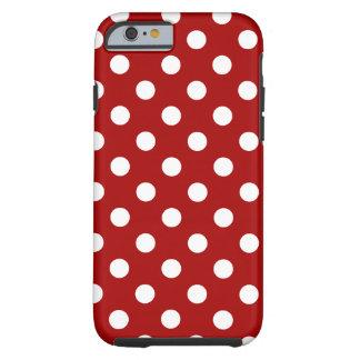 Lunares grandes - blanco en rojo oscuro del funda de iPhone 6 tough