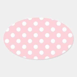 Lunares grandes - blanco en rosa pegatina ovalada