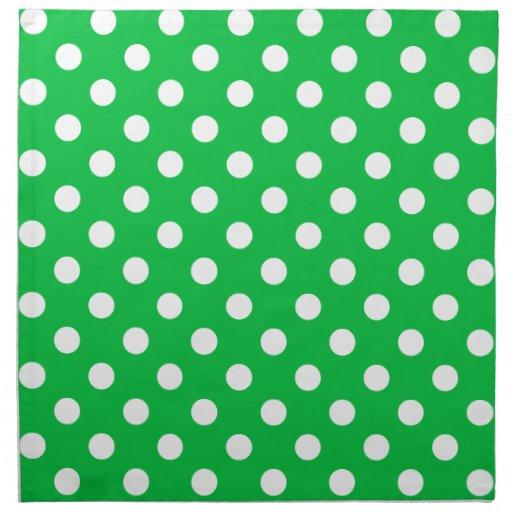 Lunares grandes - blanco en verde en colores paste servilletas de papel