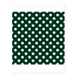 Lunares grandes - blanco en verde oscuro postal