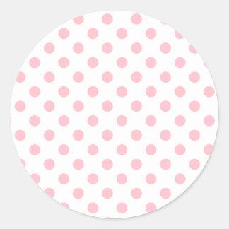 Lunares grandes - chicle en blanco pegatina redonda
