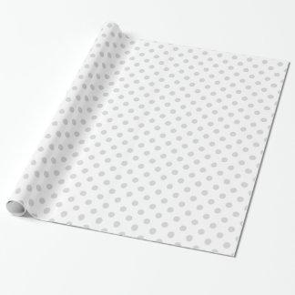 Lunares grandes - grises claros en blanco papel de regalo