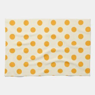 Lunares grandes - mandarina oscura en la vainilla toallas de cocina