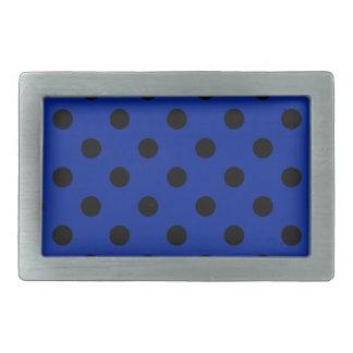 Lunares grandes - negro en azul imperial hebillas de cinturón rectangulares