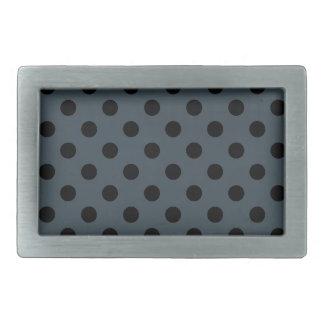 Lunares grandes - negro en el carbón de leña hebilla cinturón rectangular