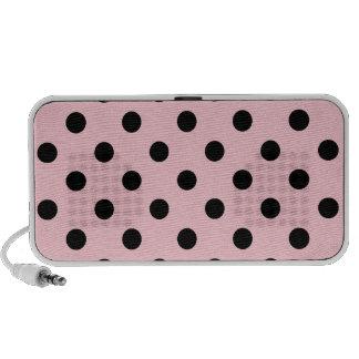 Lunares grandes - negro en rosa portátil altavoces