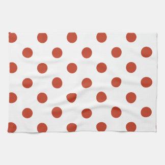 Lunares grandes - rojo en colores pastel oscuro en toallas de cocina