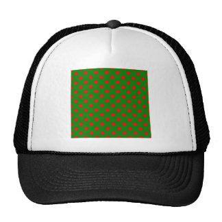 Lunares grandes - rojo en verde gorras de camionero