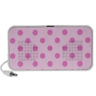 Lunares grandes - rosa oscuro en rosa laptop altavoz