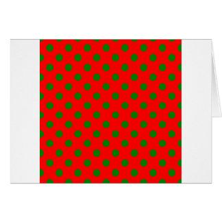 Lunares grandes - verde en rojo tarjeta de felicitación