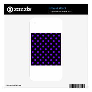 Lunares grandes - violeta en negro calcomanía para iPhone 4S