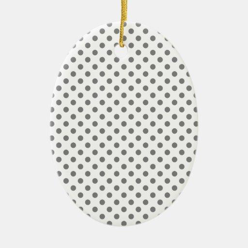 Lunares - gris en blanco adorno ovalado de cerámica