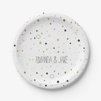 Lunares grises del confeti de oro del rosa moderno plato de papel de 7 pulgadas