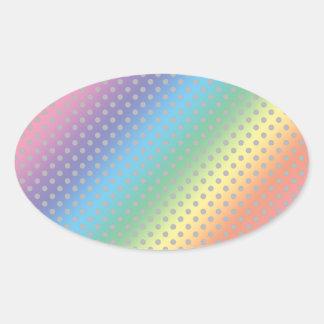 lunares grises minúsculos del arco iris calcomanía ovalada