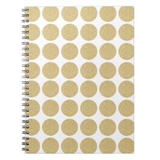 Lunares intrépidos del oro del brillo libros de apuntes con espiral