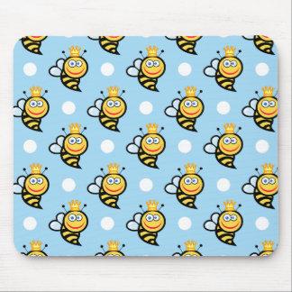 Lunares lindos de la abeja reina, de los azules alfombrilla de ratón