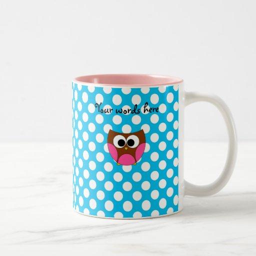 Lunares lindos del azul del búho taza de café