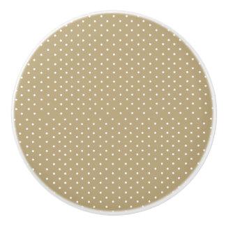 Lunares lindos del beige del oro pomo de cerámica