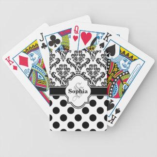 Lunares lindos del damasco negro del vintage baraja de cartas