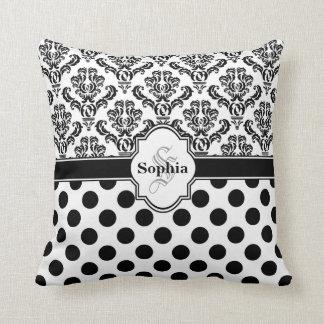Lunares lindos del damasco negro del vintage almohadas