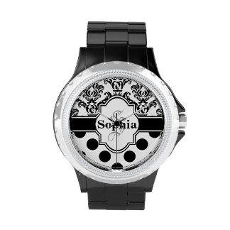 Lunares lindos del damasco negro del vintage relojes de pulsera