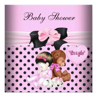 Lunares lindos del negro de los rosas bebés del comunicado