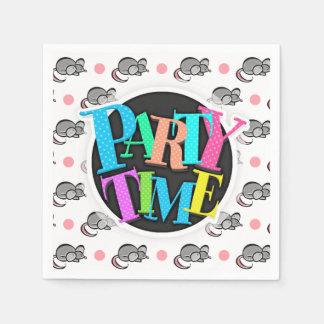 Lunares lindos del ratón, de los ratones, rosados servilletas de papel