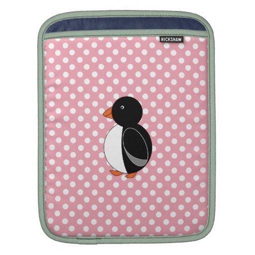 Lunares lindos del rosa del pingüino manga de iPad
