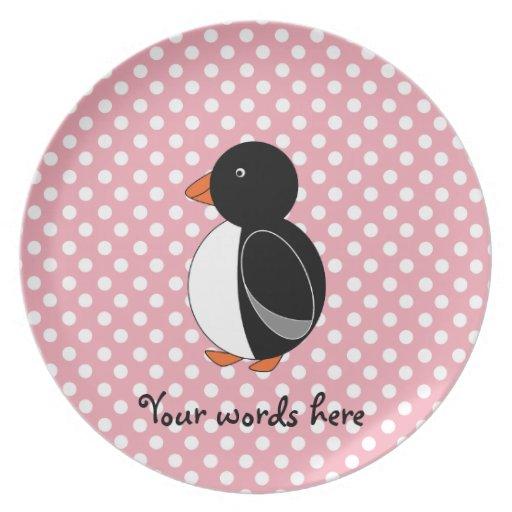 Lunares lindos del rosa del pingüino platos