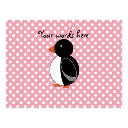Lunares lindos del rosa del pingüino postal