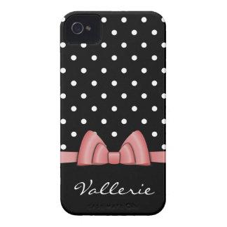 Lunares lindos y caso rosado del iPhone 4 del arco iPhone 4 Case-Mate Funda