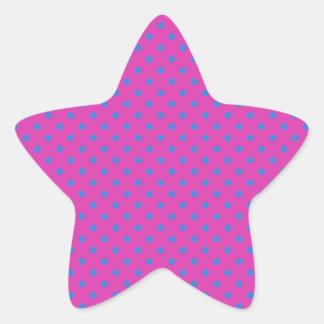 Lunares magentas, azules pegatina en forma de estrella